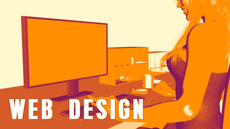 Web design Concept Course with Woman Looking at Computer