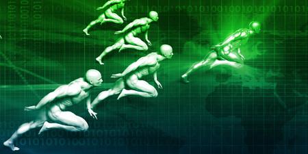 Business Success Concept with Running Men Art