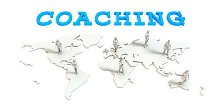Coaching Global Business Abstract with People Standing on Map