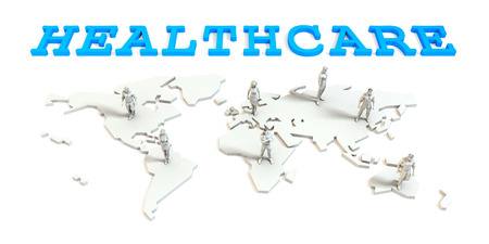 Healthcare Global Business Abstract with People Standing on Map