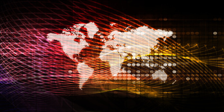 World Business Background with Map and Digital Data
