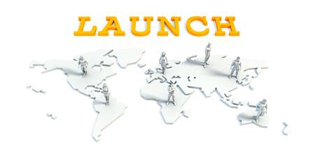 Launch Concept with a Global Business Team Lizenzfreie Bilder