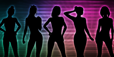 Beach Party Silhouette of Women Standing in Bikinis