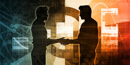 Business Partnership Concept with Two Men Shaking Hands