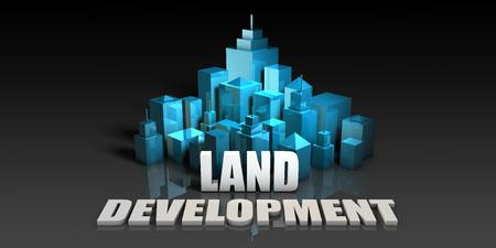 Land Development Concept in Blue on Black Background