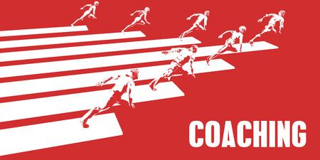 Coaching with Business People Running in a Path Lizenzfreie Bilder