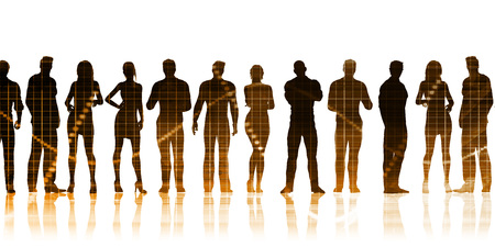 Business Team Standing in a Row Business Concept