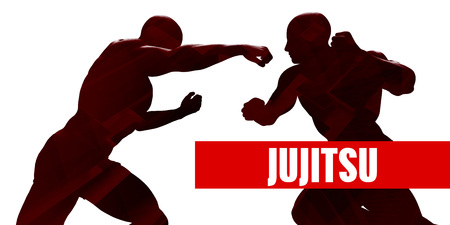jujitsu: Jujitsu Class with Silhouette of Two Men Fighting Stock Photo