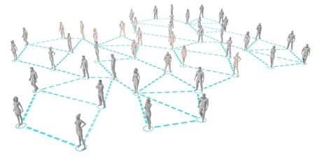 linked: Crowd of 3D Figures Linked by Lines and Technology Stock Photo