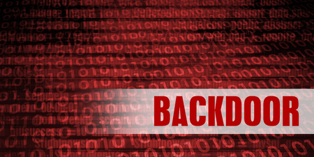 backdoor: Backdoor Security Warning on Red Binary Technology Background
