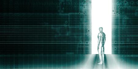 디지털 혁명과 혼란에 빠뜨릴 수없는 기술 스톡 콘텐츠