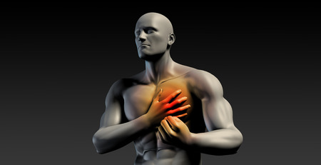 Chest Pains or Pain in Your Body Heart Area Stock Photo