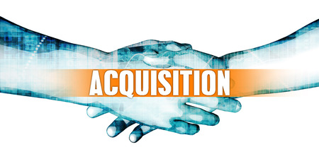 affiliation: Acquisition Concept with Businessmen Handshake on White Background Stock Photo