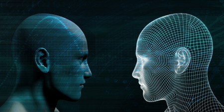 Online Personality with Physical Human and Digital Avatar Stock Photo