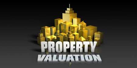 valuation: Property Valuation Industry Business Concept with Buildings Background Stock Photo