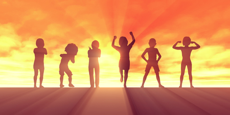 Group of Kids Having Fun as a Abstract Background Stock Photo