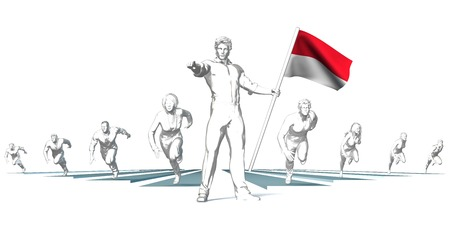 Indonesia Racing to the Future with Man Holding Flag Stock Photo