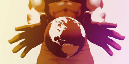 manos limpias: Hands Holding Globe and Environmental Awareness or Clean Power Foto de archivo