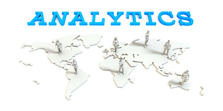 expand: analytics Global Business Abstract with People Standing on Map