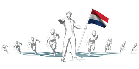progressing: Netherlands Racing to the Future with Man Holding Flag