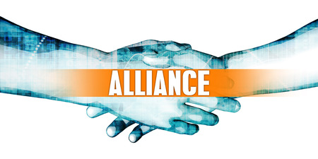 affiliation: Alliance Concept with Businessmen Handshake on White Background