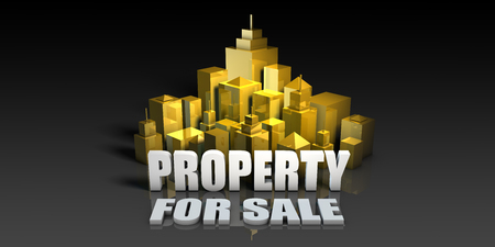 Property For Sale Industry Business Concept with Buildings Background Stock Photo