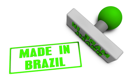 Made in Brazil Stamp or Chop on Paper Concept in 3d