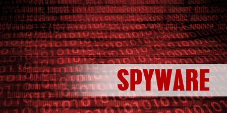 increasing: Spyware Security Warning on Red Binary Technology Background