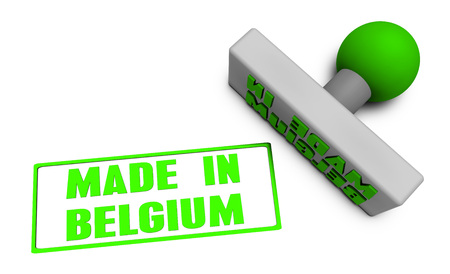 Made in Belgium Stamp or Chop on Paper Concept in 3d