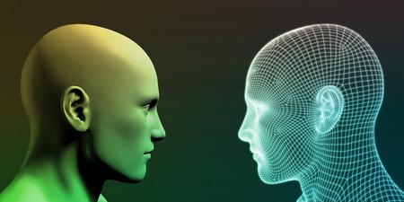 ロボットの頭とデジタルの未来抽象的な背景 写真素材