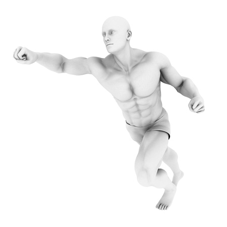 Superhero Pose With a Man in 3d Render Illustration