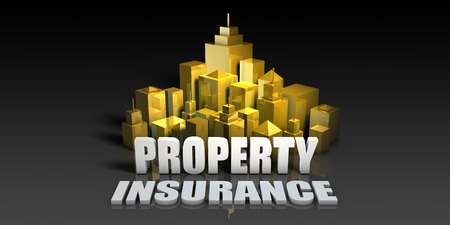 Property Insurance Industry Business Concept with Buildings Background Stock Photo
