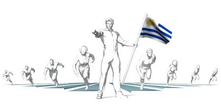 bandera de uruguay: Uruguay Racing to the Future with Man Holding Flag