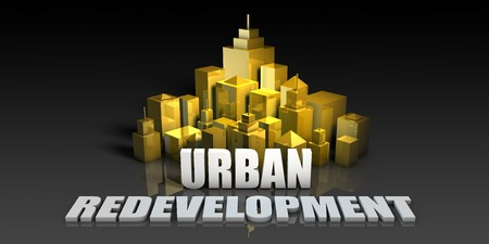 Urban Redevelopment Industry Business Concept with Buildings Background Stock Photo