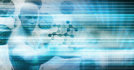 Medical Technology with Scientist Engineer on DNA Background Stock Photo