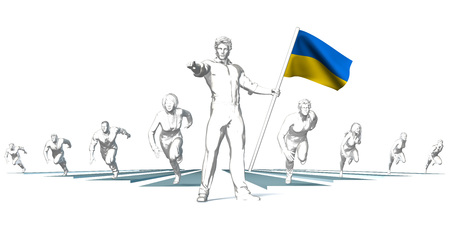 Ukraine Racing to the Future with Man Holding Flag