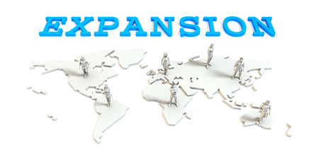 Expansion Global Business Abstract with People Standing on Map