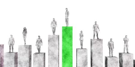 People Standing on Financial Bar Graph Chart Lizenzfreie Bilder