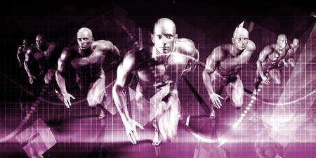Business Men Running Technology Abstract Background Art
