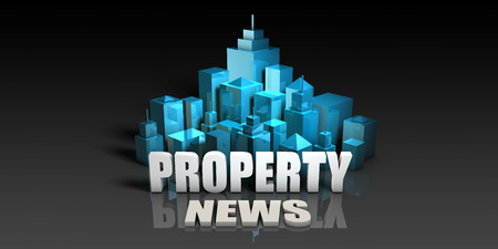 listing: Property News Concept in Blue on Black Background