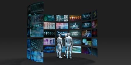 Video Wall Abstract with Business People Watching Lizenzfreie Bilder