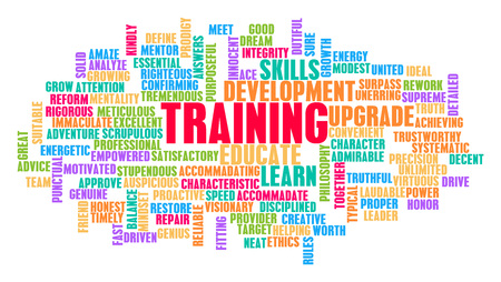 Training Word Cloud Concept on White Imagens