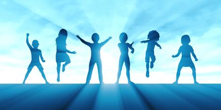기쁨과 흥분을 배경으로 점프하는 아이들