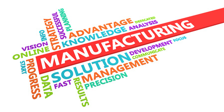 Manufacturing Word Cloud Concept Isolated on White