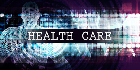 Health care Industry with Futuristic Business Tech Background Banco de Imagens