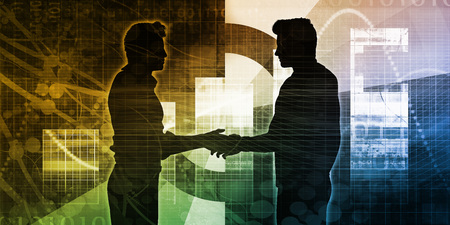 shared sharing: Technology Collaboration with Two Businessmen and Handshake