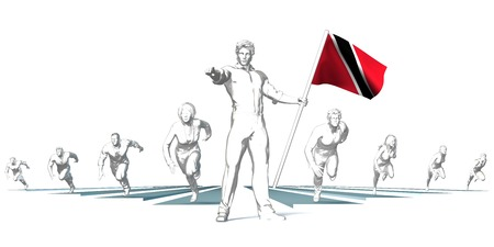 Trinidad and tobago Racing to the Future with Man Holding Flag