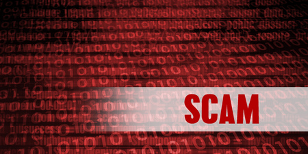 Scam Security Warning on Red Binary Technology Background