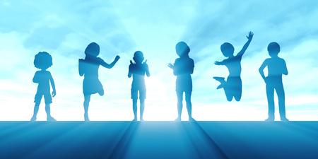 抽象的な背景として楽しんでいる子供の集団