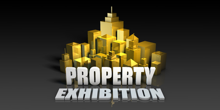 Property Exhibition Industry Business Concept with Buildings Background Stock Photo